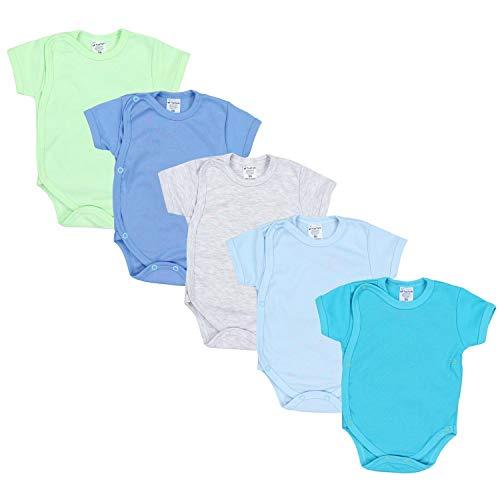 TupTam Baby Jungen Kurzarm Wickelbody Baumwolle 5er Set, Farbe: Farbenmix 2, Größe: 56