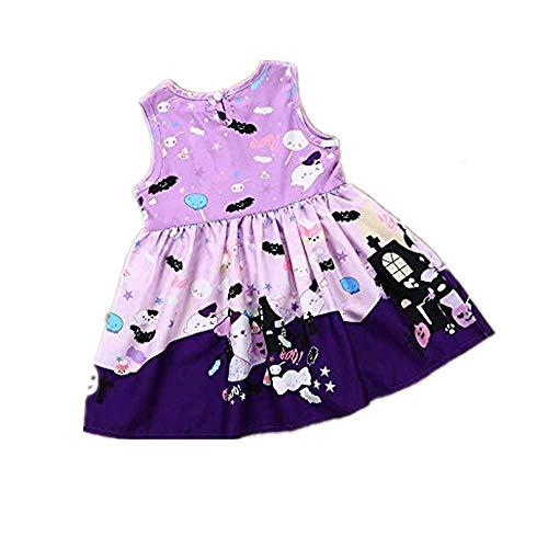 WUSIKY Tutu Sommerkleid Kleinkind Kleinkind Baby Mädchen Ghost Print Kleid Prinzessin Kleid Halloween Kostüm Outfits Geschenk für Kinder 2019 Kind Tops(4T/110,Lila)