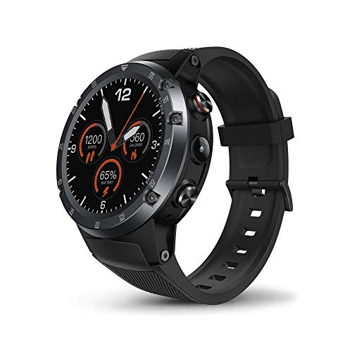 Wifi 5 Mp Gps (JS Products Männer 4 Plus 4G LTE Smartwatch Telefon, 1,4 Zoll Android 7.1 MTK6739 Viererkern GPS WiFi 5MP Kamera Smart Watch,Gray)