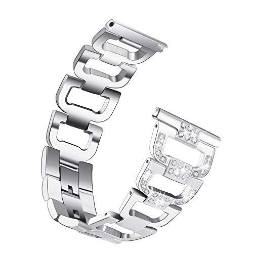 TianranRT Ersatz Metall Kristall Watch Armband Handgelenk Band Für Samsung Galaxy Watch (46mm) (Silber)