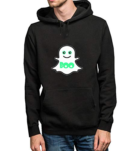 Cute Boo Ghost Green Lava Halloween_R1754 Hoodie Kapuzenpullover Jumper Sweater Pullover Sweatshirt Unisex Black Gift- S Black Hoodie