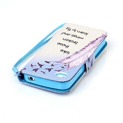 Voguecase® Per Apple iphone 5C,(sette fiori colorati) Elegante borsa in pelle Custodia Case Cover Protezione chiusura ventosa Con Stilo Penna piuma 06