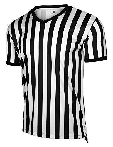 FitsT4 Herren Schiedsrichter-Trikot mit Reißverschluss, Schwarz/Weiß gestreift, Black/White Stripe-V Neck, Large
