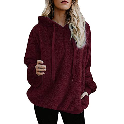 VECDY Frauen Tops | Flauschige Winter Hoodie | Sweatshirt | Damen mit Kapuze Pullover | Eleganter Pullover | Sweatshirt | Kapuzenpullover | Plüsch Oben | S-5XL | Mantel | Charmanter Anzug -