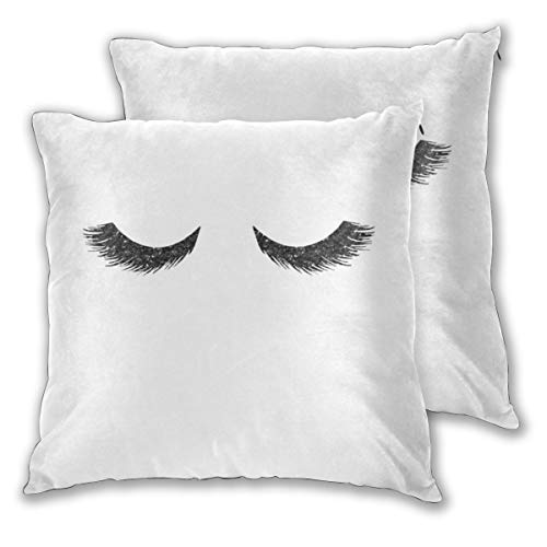 Cushion Covers Pack of 2 Cushion Covers Throw Pillow Cases Shells for Couch Sofa Home Decor Lashes Black Glitter Mascara 45cm x 45cm - Faux Lash Mascara