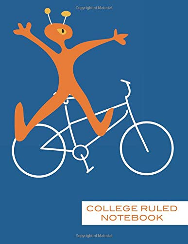College Ruled Notebook: Cute Orange Monster Notebook, Lined Paper Biking Monster Alien Composition Book