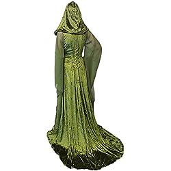 Vestido Maxi Manga Larga Victoriana Medieval con Capucha Vestido de Corte Bajo de Halloween Renaissance, M