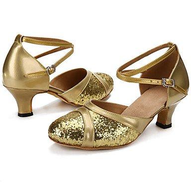 Scarpe da ballo-Personalizzabile-Da donna-Balli latino-americani Jazz-Tacco su misura-Di pelle Brillantini-Nero Rosso Argento Dorato Gold