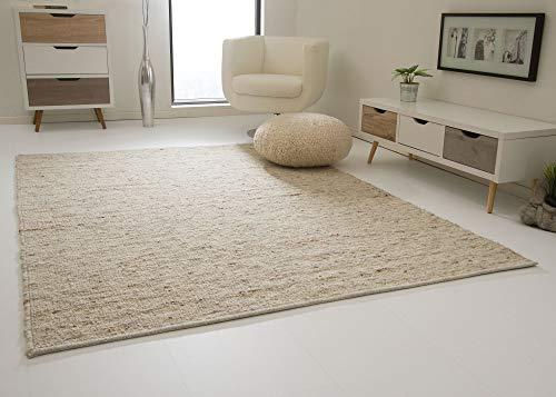 Landshut Handweb Teppich aus 100% Schurwolle - natur, Größe: 130x190 cm
