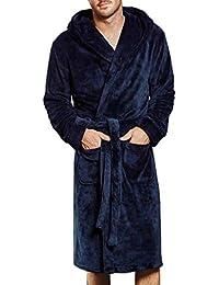 7e704f3df3f5fb XWBO Herren Bademantel mit Kapuze und Schalkragen Morgenmantel Größe M -  XXXXL Übergrößen Sauna-Mantel Fleece Saunamantel…