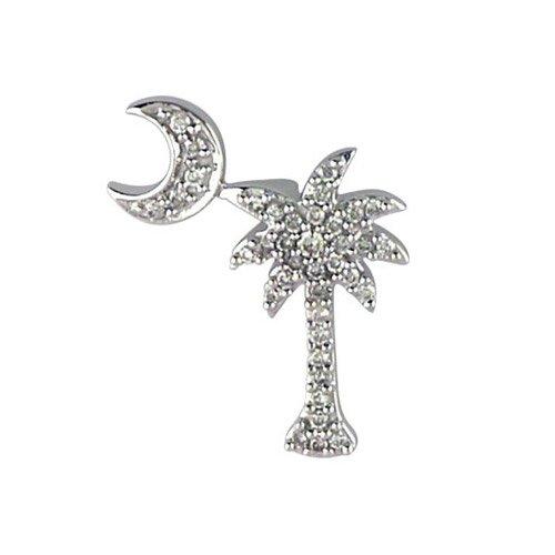 14K Weißgold .15 Ct Diamant Palm Tree und Crescent Moon Anhänger
