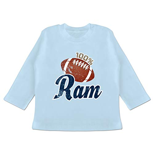 Sport Baby - 100% Ram - 12-18 Monate - Babyblau - BZ11 - Baby T-Shirt Langarm -