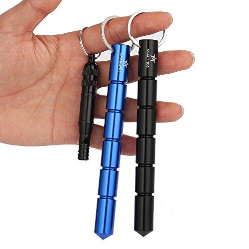2 Stück ! (Doppelpack) Kubotan / Druckverstärker In Schwarz Und Blau Und Sehr Lauter Signal-Pfeife Und Schlüsselring Auch Als Notfallhammer Zu Verwenden 100% Legal Von Amathings