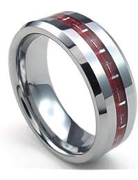 KONOV Joyería Anillo de hombre mujer, Compromiso, Boda, Amor, Fibra de carbono, Tungsteno, Color rojo plata (con bolsa de regalo)