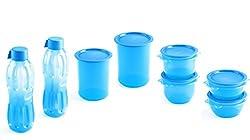 Signoraware Center Press Plastic Water Bottle Set, 8-Pieces, Blue