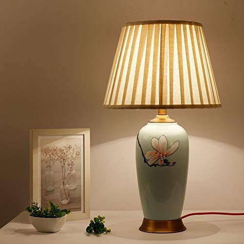 BOBO Keramik Tischlampe Schlafzimmer Nachttischlampe Study Warm Hotels Wohnzimmer-Dekoration Wachstuch Kupfer Lampe E27 Verstellbare Tischlampe/D/Aktiver Schalter -