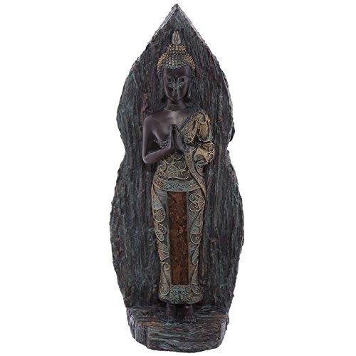 Decoración diseño efecto madera de cardenillo Thai Buda figura decorativa en resina de PDS
