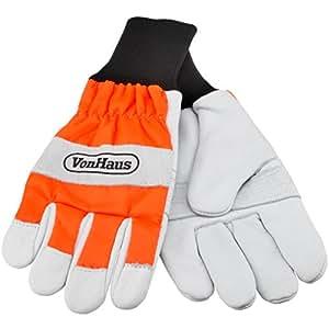 VonHaus Larges gants de protection pour tronçonneuse – 16m/s (Orange & blanc) Taille 8 Moyenne