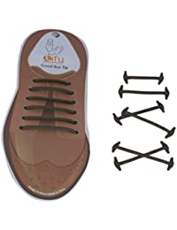 Lify No tie shoelaces for dress shoes silicone elastic shoe strings, No tie shoelaces for Formal / Office shoes- Brown Color - 1 Pair