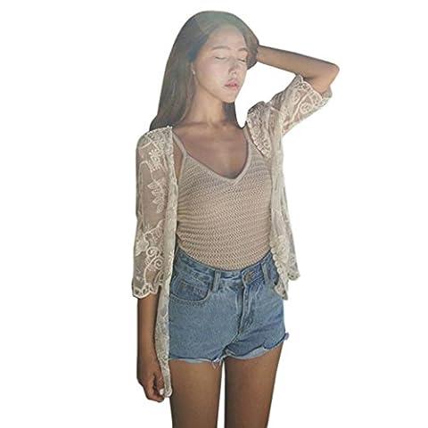Shawl Cardigan, Amlaiworld Femme Châle lisse de plage de dentelle d'été Kimono Cardigan Top Cover up Chemise Blouse (S, Blanc)