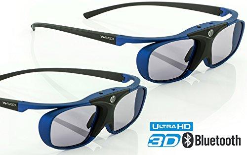 "2x Hi-SHOCK® 3D-BT Pro \""Deep Heaven\"" | Smart Active 3D Brille für UHD / FullHD / 4k / HDR 3D TV von Sony, Samsung, Panasonic [Akku | 32g | Shutterbrille | Bluetooth]"