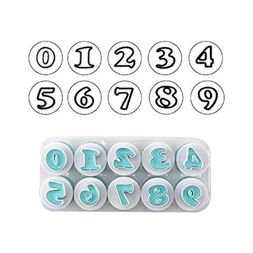 SULUO BackformBrief Fondant Ausstecher 26 Stück Groß- und Kleinbuchstaben und 10 Stück Anzahl Kuchendekorationswerkzeuge, digital (Ausstechformen Eine Große Brief)