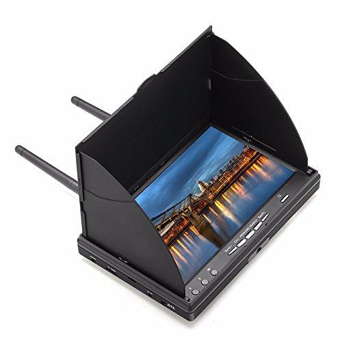 Eachine LCD5802D FPV Monitor mit DVR Dual Empfänge 5.8G 40CH 7 Inch eingebaute Batterie