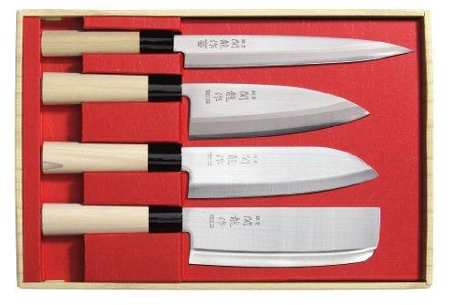 Set de 4 couteaux Japon Sekiryu incl. une pierre à aiguiser japonaise #800