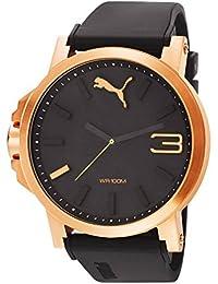 Puma Ultrasize - Reloj análogico de cuarzo con correa de poliuretano para hombre, color negro/negro y oro