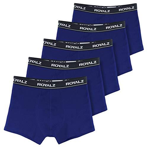 ROYALZ Unterhosen Herren Boxershorts Men 5er Set klassisch Nahtlos für Sport und Freizeit, 5er Pack (95% Baumwolle / 5% Elasthan), Farbe:Blau, Größe:XL -