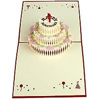 """MUROAD Creativo 3D Biglietto di auguri """"Torta di compleanno"""" -3D pop up Biglietti di auguri ,Adatto per compleanno, anniversari,benedizioni, affari e saluti.(Torta di compleanno)"""
