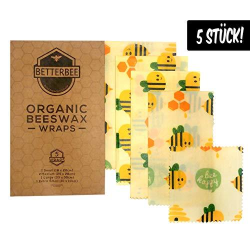 BetterBee - Wachspapier 5er Set - Wiederverwendbare Bienenwachstücher/Wachstuch für Lebensmittel, aus Bio Bienenwachs - Beeswax wrap, Verschiedene Größen für Obst, Käse, Brot als Verpackung -