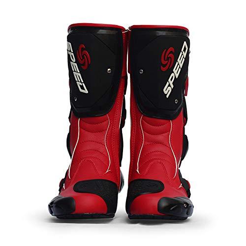 Meiyiu Botas de Carreras de Motos Botas de Motocross Profesionales Botas de Cuero para Motociclistas Botas de Carreras de Motos Speed Rojo 45