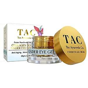 TAC - The Ayurveda Co. Under Eye Cream for Dark Circles & Collagen Boosting with Babchi, Natural Retinol & Hyaluronic Acid Gel Creme for Anti Ageing & Wrinkles, Paraben Free, 30gm