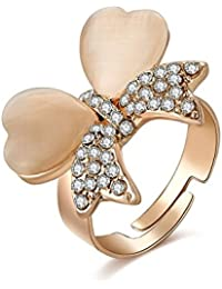 Shimmer Divine Limited Edition AAA AD Butterfly Inspired Flowerets Design Rose Gold Plated Adjustable Ring For...