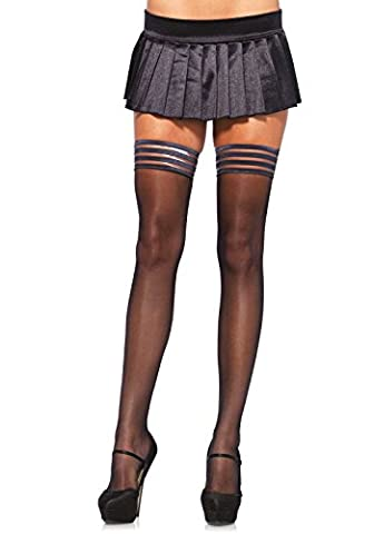 Leg Avenue Hosiery Collection Universal Black Sheer Stay Up With Striped Top