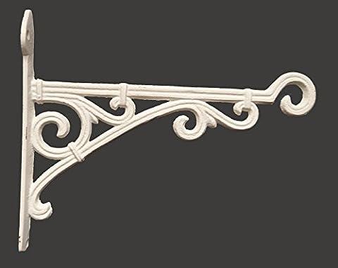 Cast Iron Ornate Hanging Flower Basket Bracket Hook in 3 colours (28cm) (Antique White)