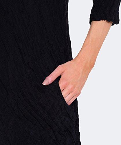 Grizas Femmes Robe de lin gaufre diagonale Noir Noir