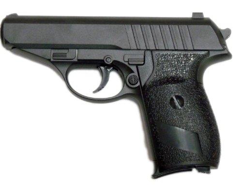 Softair-Pistole aus Metall Zinklegierung Federdruck schwarz ca. 15cm lang 6 mm unter 0,5 Joule ab 14 Jahre (Kaliber-pistole 30)