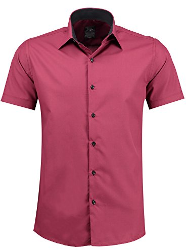 Jeel Herren-Hemd – Slim-Fit – Bügelleicht – Business, Hochzeit, Freizeit – Kurzarm-Hemd für Männer 105 Dark Red L
