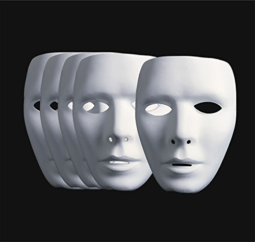 TK Gruppe Timo Klingler 6X Maske Theathermaske zum bemalen unbemalt basteln Anonymous Masken, ganzes Gesicht weiß unbemalt für Damen und Herren, Kinder zum bemalen an Karneval und Fasching