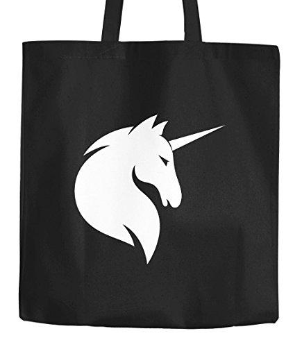 Stoffbeutel Einhorn Silhouette Unicorn Jutebeutel Moonworks® schwarz 2 lange Henkel Einhorn Schwarz
