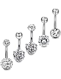 Yadoca 5-6pcs 14G Stainless Steel Belly Button Rings for Women Girls Navel Rings Crystal CZ Body Piercing