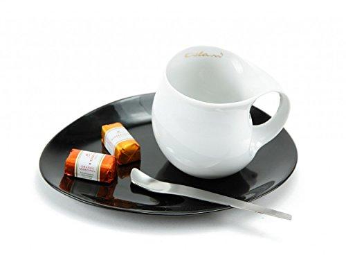 Luigi Colani Designer Kaffeetasse zweifarbig (Weißer Kaffeebecher + Schwarzer ovaler Untersetzer +...