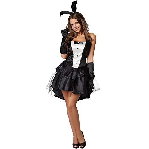 dressforfun 900476 - Damenkostüm sexy Bunny, Kurzes Kleid mit Neckholderoberteil und fünflagigem Rock (M | Nr. 302121)
