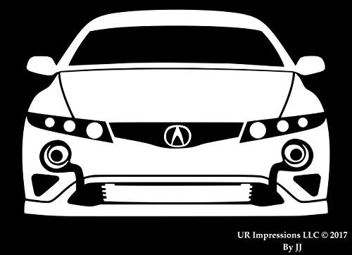 UR Impressions Twin Turbo Tuner Front Silhouette Aufkleber Vinyl Sticker Grafik für Acura TL Integra RSX Type S Auto SUV Walls Fenster Laptop Tablet Weiß weiß (Emblem Honda Rsx)