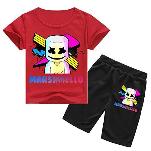 QYS Camiseta con Estampado de Cara Sonriente para niños DJ + Conjunto de Pantalones Cortos,Red,160cm