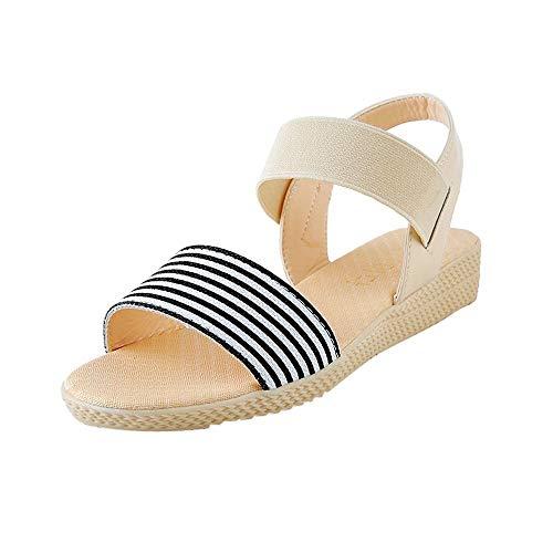T-shao Sandali da Donna con Cinturino alla Caviglia Espadrillas con Plateau Sandali con Punta Aperta Sandali da Spiaggia con Cinturino Aperto E Cinturino A Strisce (Color : Beige, Size : 37 EU)