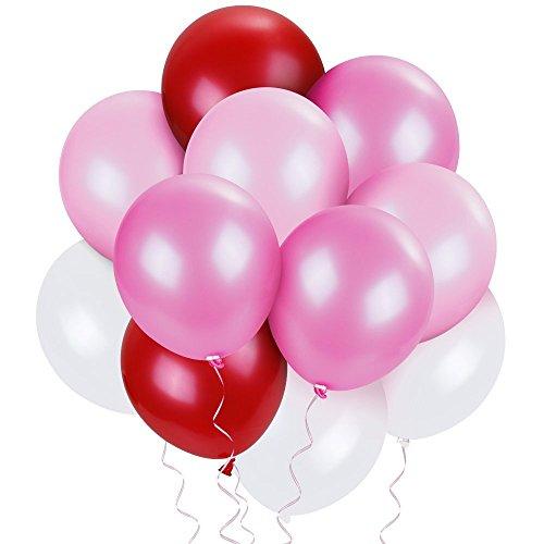 Lictin Luftballons Perlen Latex Ballons für Party Hochzeit Geburtstag 70 Stücke Luftballons Spielzeug für Kinder weiß rosa Hellrosa rot