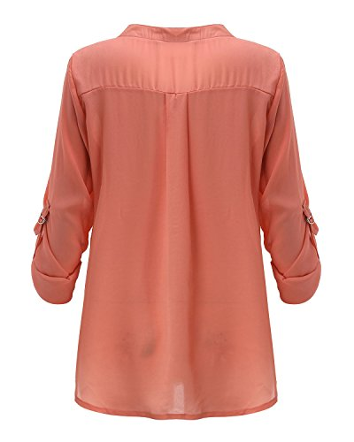 ZANZEA Damen Cocktail Bluse Ziegelrot